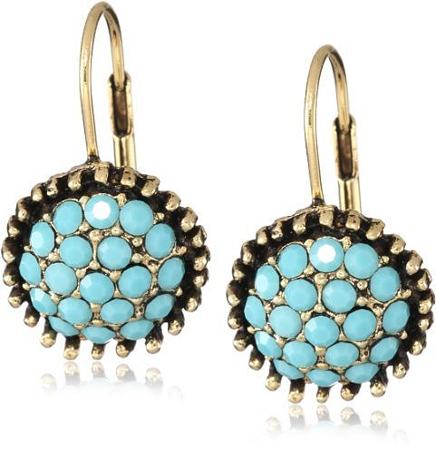 Yochi Turquoise Stone Burst Brim Hoop Earrings