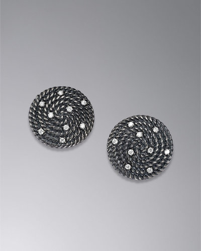David Yurman Cable Coil Earrings, Diamonds, 18mm