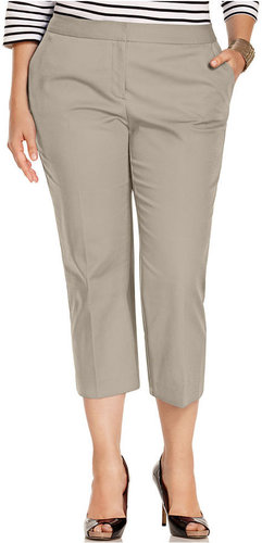 Charter Club Plus Size Pants, Slim It Up Cropped Slim Leg