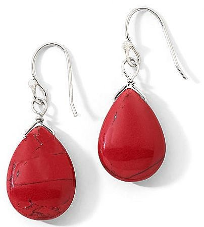 Sterling Silver Red Jasper Teardrop Earrings