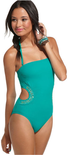 GUESS? Swimsuit, Bandeau Cutout Studded One Piece