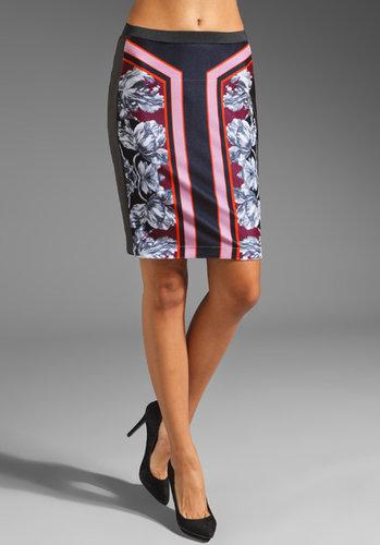 Clover Canyon Geometric Flower Drawing Velvet/Leather Skirt