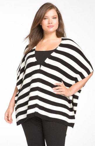 Vince Camuto Stripe Poncho Cardigan (Plus)