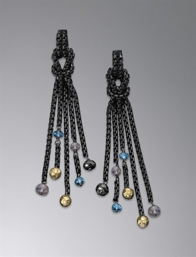 Chain Earrings, Blue Topaz