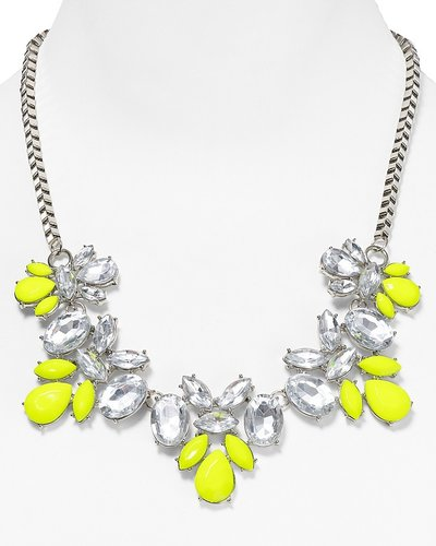 Aqua Yellow Flower Crystal Necklace, 18""