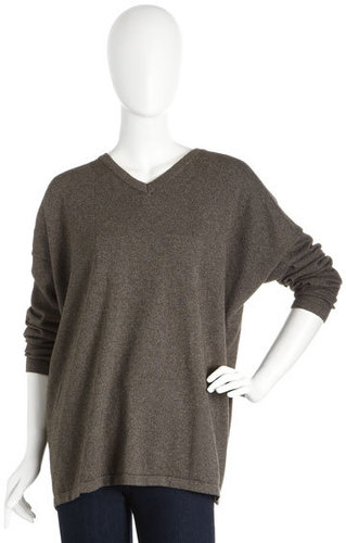 Eskandar V-Neck Cashmere-Blend Sweater, Mousse