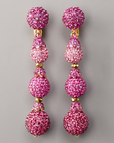 Jose & Maria Barrera Pave Drop Earrings, Hot Pink