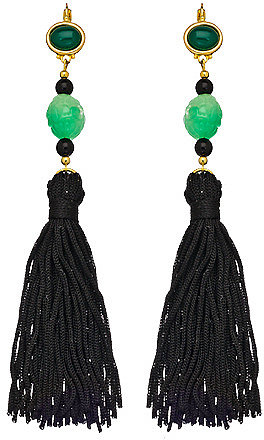 Kenneth Jay Lane Black and Green Tassel Shoulder Duster Earrings