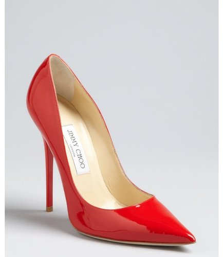 Jimmy Choo red patent leather 'Chilli' pointed toe pumps