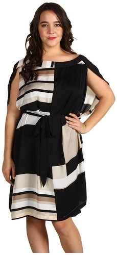 DKNYC Plus Size - Plus Size Split Sleeve Dress With Black Belt