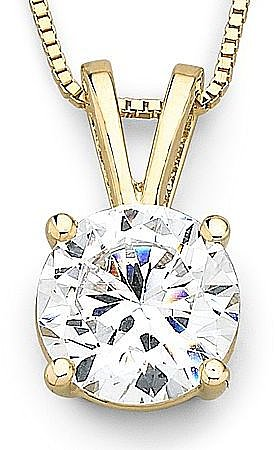 Diamond Solitaire Pendant 14K Yellow Gold