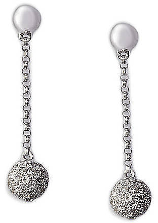 EFFY COLLECTION Diamond Ball Drop Earrings in 14 Kt. White Gold, 0.68 ct. t.w.