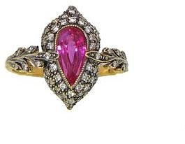 Cathy Waterman Pink Sapphire Double Leaf Arabesque Ring in Blackened 22 Karat