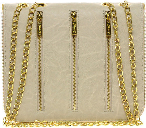 Max C London Shoulder Bag With Chain Strap & Zip Detail