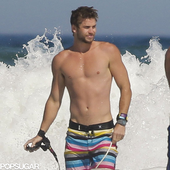 Liam Hemsworth hit the beach in Australia.