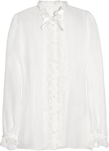 Dolce & Gabbana Lace-trimmed silk-chiffon blouse