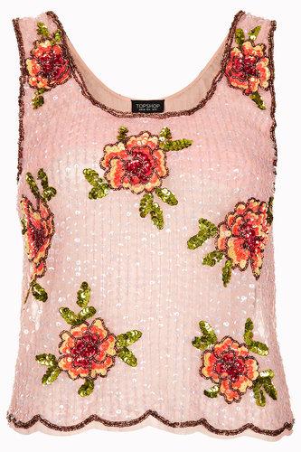Bright Floral Sequin Vest