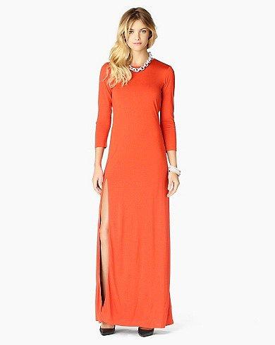 Solid Long Sleeve Maxi Dress