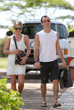 Jennifer Aniston and Justin Theroux made their way around Kauai in August 2011.