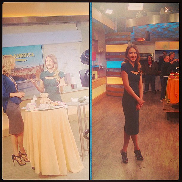 Jessica Alba stopped by Good Morning America in Narciso Rodriguez to promote her new book, The Honest Life. Source: Instagram user jessicaalba
