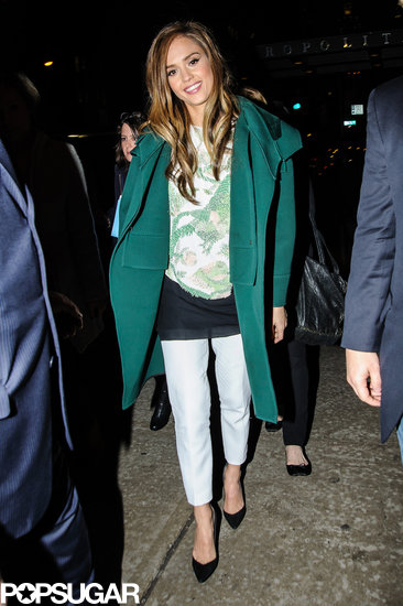 Jessica Alba wore a green coat while visiting the Russian Tea Room.