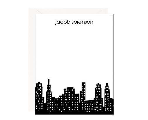 Jot down a note on this personalized skyline stationery ($26 for 20) with a true metropolitan feel.