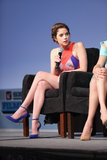Ashley Benson paired sleek ankle-strap pumps with a sportier multicoloured minidress for the SXSW Spring Breakers panel.