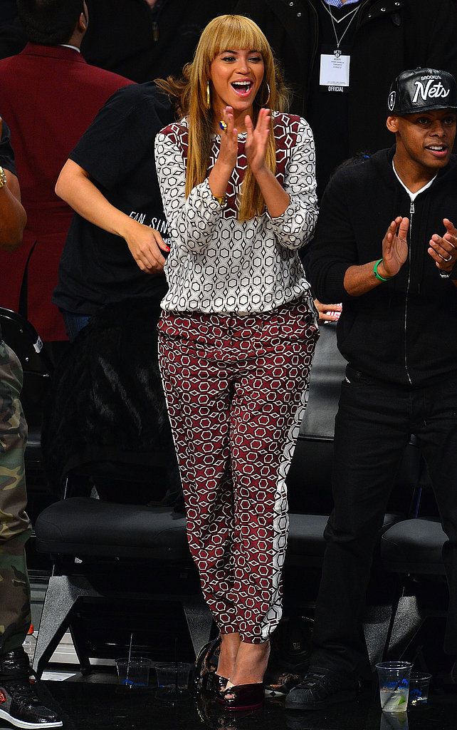 Ah, Beyoncé: this print-on-print Tibi look was pretty much the stuff dreams are made of. This November 2012 Nets game got a whole lot more stylish with Bey's front-row presence.