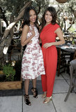 Zoe Saldana and Nina Dobrev laughed while taking pictures at The Hollywood Reporter and Jimmy Choo event in LA.