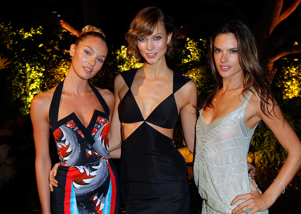 Candice Swanepoel, Karlie Kloss and Alessandra Ambrosio posed at the Victoria's Secret party in LA.