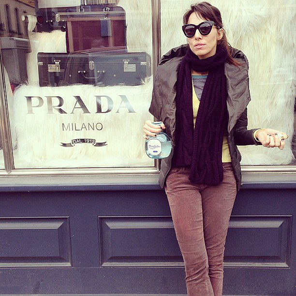 Whitney Cummings posed with a bottle of tequila in front of the Prada store. Source: Instagram user whitneyacummings