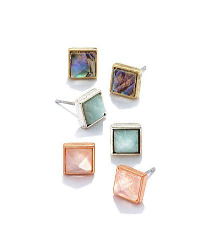Rachel Roy's pastel pyramid earrings ($28) come in a three-pack so you can mix and match as you please.