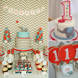 A Modern Chevron, Elephant, and Balloon First Birthday Party