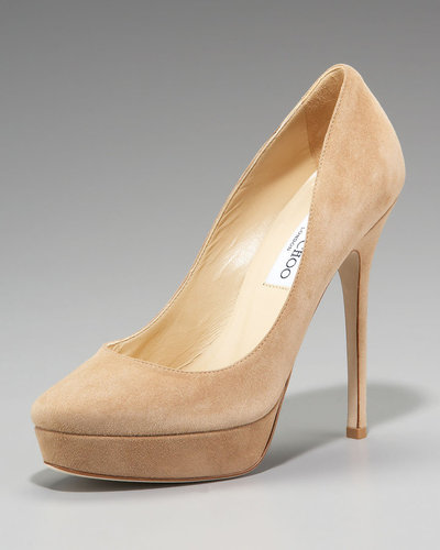 Jimmy Choo Suede Platform Pump, Nude