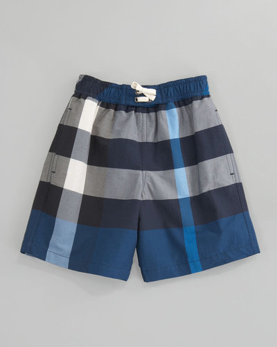Burberry Mini Check Swim Shorts, Petrol Blue