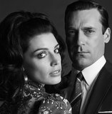 Jessica Paré and Jon Hamm on Mad Men.