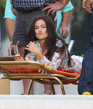 Isla Fisher laid out in Miami for a scene in an untitled Elmore Leonard project on Tuesday.