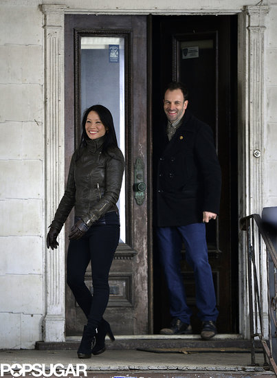 Lucy Liu and Jonny Lee Miller shot a scene for Elementary on Monday in NYC.
