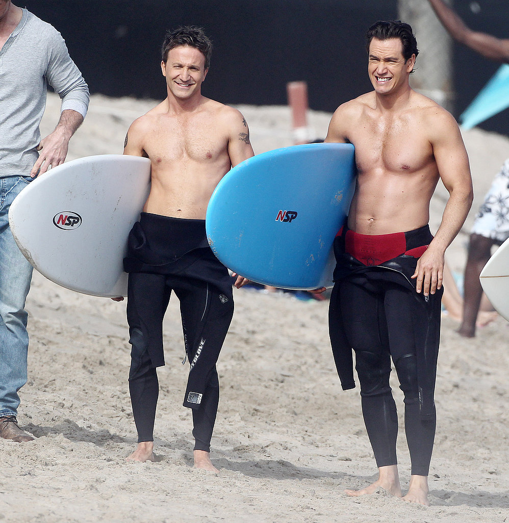 Shirtless Mark-Paul Gosselaar and Breckin Meyer filmed scenes on the beach in Malibu on Tuesday for Franklin & Bash.