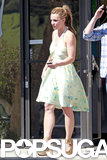 Britney Spears wore a green sundress in LA.