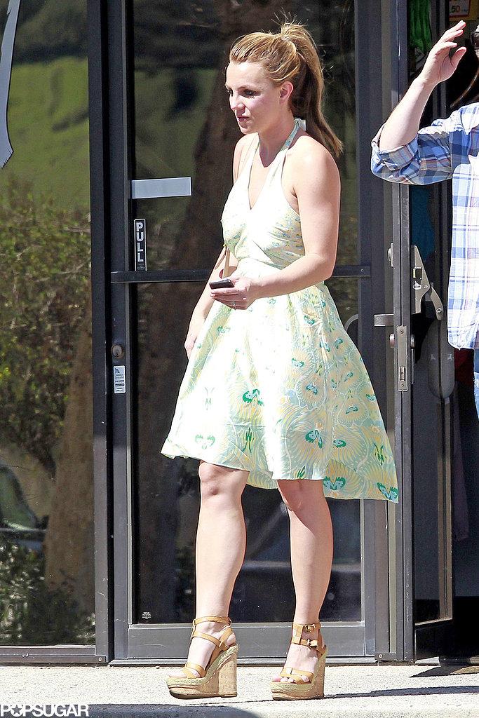 Britney Spears wore a green sundress in LA.