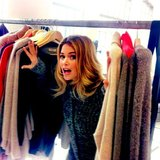Doutzen Kroes played in the racks while on a cashmere-filled photo shoot. Source: Instagram user doutzenkroes1