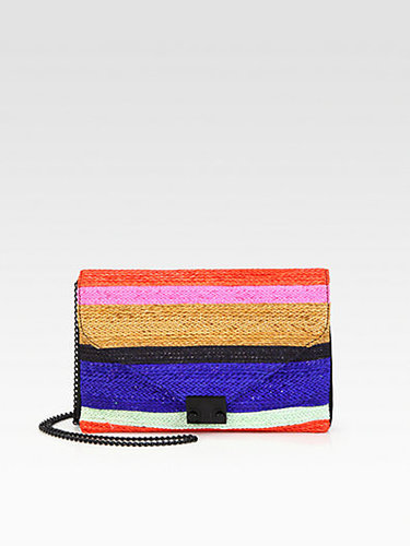 Loeffler Randall Striped Woven Raffia Shoulder Bag