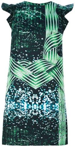 Piccione.Piccione digital print silk dress