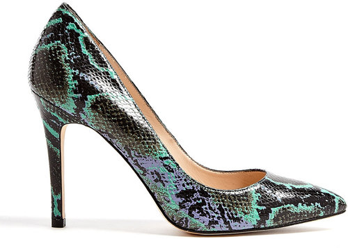Lucy Choi London Green Snake Print Goldstone High Heel Shoe