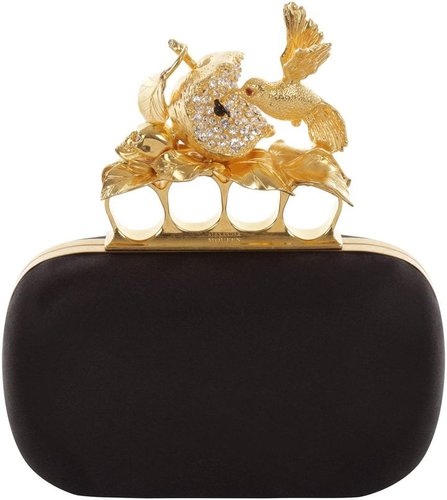 Black Satin Apple &amp; Hummingbird Skull Knucklebox Clutch