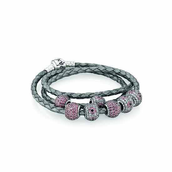 PANDORA triple leather bracelet $79, and pavé charms $69 each.