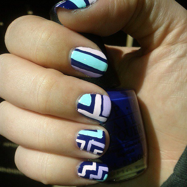 Geometric shapes and punchy pastels made for a gorgeous Spring manicure. Source: Instagram user miss_kayce