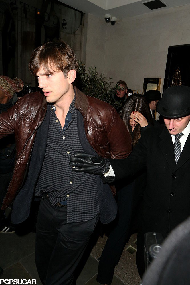 Ashton Kutcher Joins Mila Kunis For a Loving Dinner in London