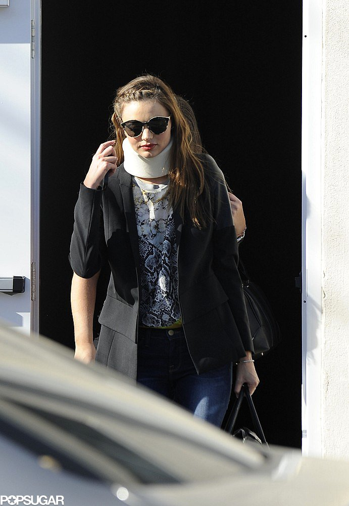 Miranda Kerr wore a neck brace in LA.